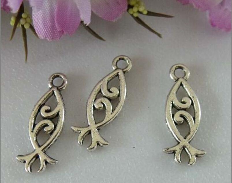 Varm sälja! Antik Silver Dubbelsidig design Fisk Charm Pendants DIY Smycken 20 x 8 mm 364