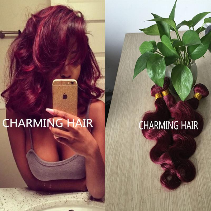Burgundy Brazilian Hair Weave Bundles Grade 8A Wine Red 99J Brazilian Virgin Remy Human Hair Body Wave Rosa Hair Products
