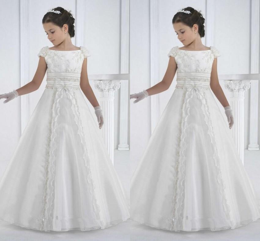 Primeiro Communer Dresses Piso Comprimento Princesa Branco Flor Menina Vestidos Meninas Branco Comunhão Vestidos Vestidos de Comunião