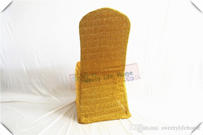 Very Nice Gold spandex/lycra chair covers with Gold Sequin fabric chair cover wedding sequin chair seats color can customized
