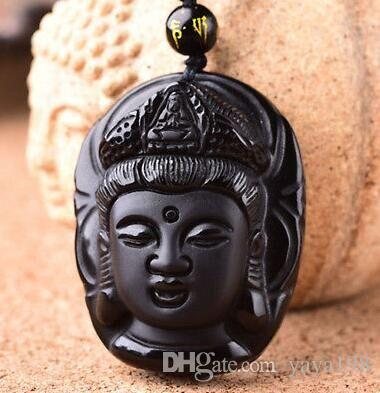 "New Natural Obsidian Hand Carved ""Guanyin Head"" Pendant + Free Beads Necklace"