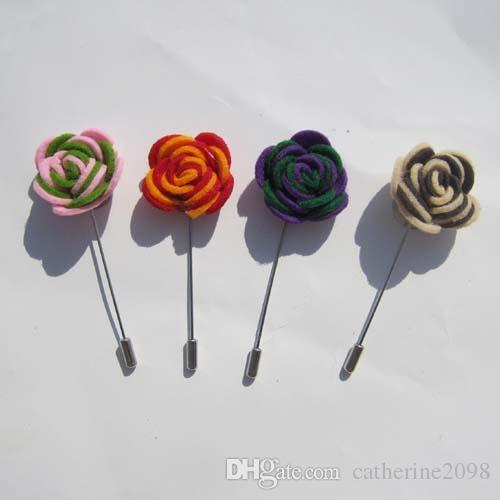 Dupla cor Sentiu flores lapela pin broche pinos 20 pçs / lote 14 cores para sua escolha Frete grátis