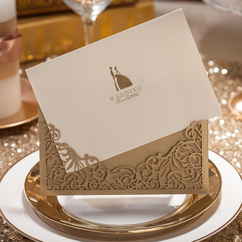 Laser Cut Wedding Invitations 2015 Gold Wedding Invitation Card