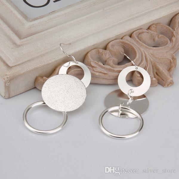 Brand new sterling silver plated Dual sand O Earrings DFMSE012,women's 925 silver Dangle Chandelier earrings a