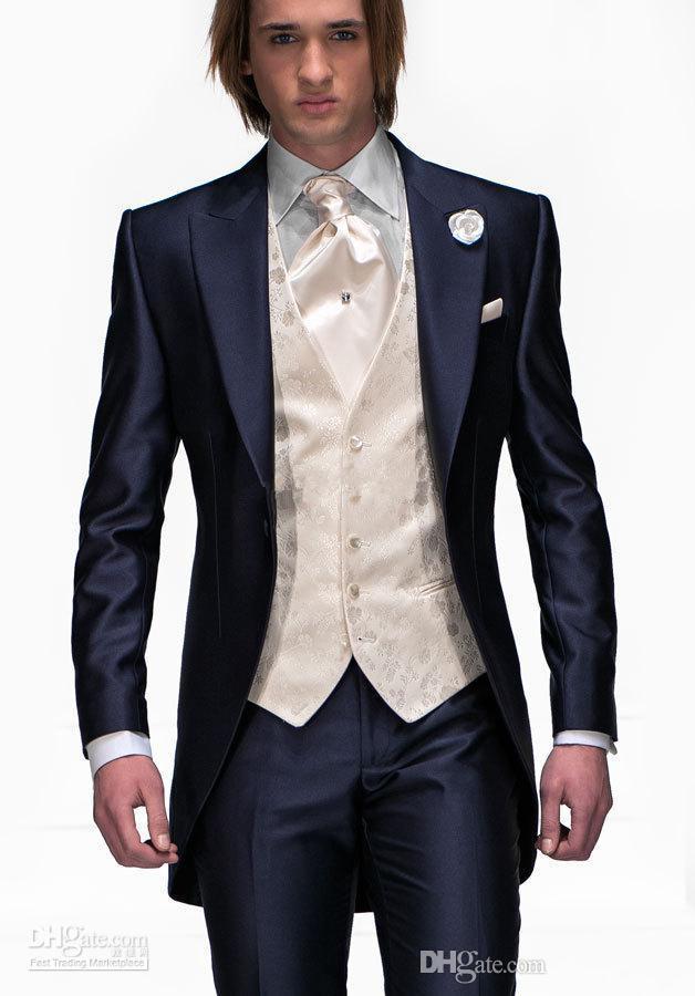 핫 남성 결혼식 + 타이 + 조끼 최고의 남성 정장 네이비 블루 신랑 턱시도 웨딩 턱시도 신랑 들러리 정장 재킷 + 바지 정장