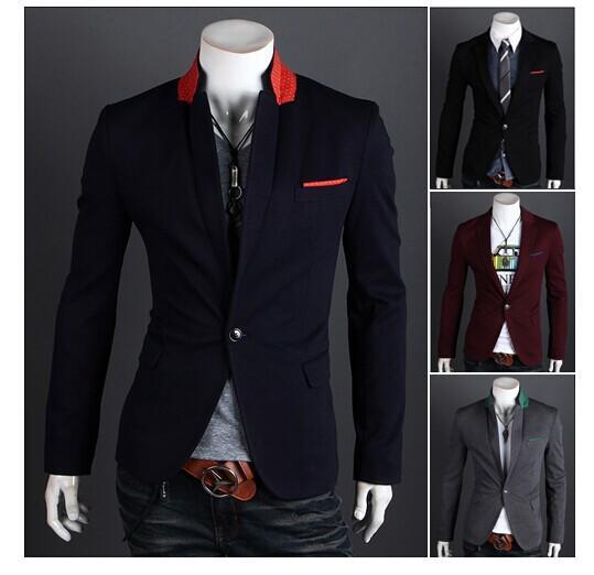 2017 Mens Casual Suits Slim Fit Stylish Korean Coats Suit Blazer ...