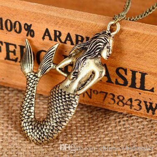 Stylish Vintage mermaid pendant necklace long sweater chain Women Jewelry New arrival factory price Gift