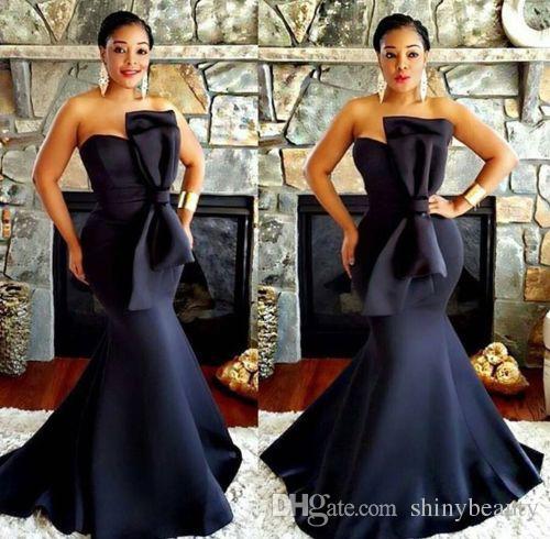 Sweetheart Mermaid Satin Big Bow Ruffle Sexy Elegant Sheath Black Sexy Custom MADE Evening Dresses Evening Gown