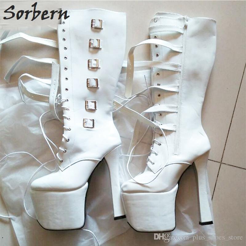 Sorbern Lace Up Kalın Topuk Çizmeler Tokalı Yüksek Topuk Platformu Siyah Patent Çizmeler Moda Dans Çizmeler Yüksek Kalite Yüksek Diz Seksi Kadin ...
