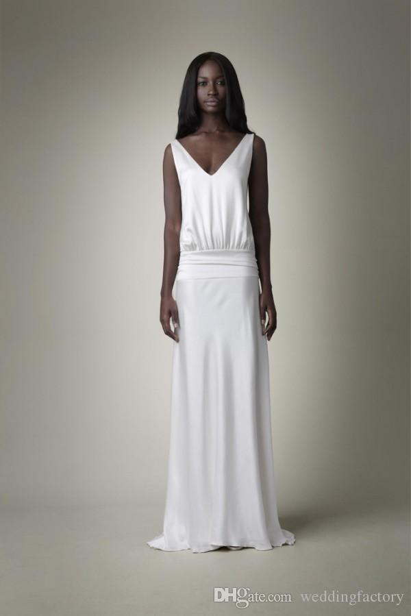 New Drop Waist Wedding Gown Sheath V Neck Sleeveless Draped Back Sheer Lace Formal Long Bridal Gowns