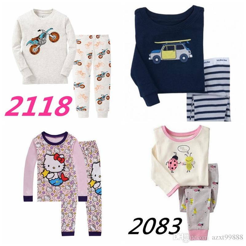 1d15a94de Children Pajamas Cotton Long Sleeve Pajamas Princess Baby Girl Boys ...
