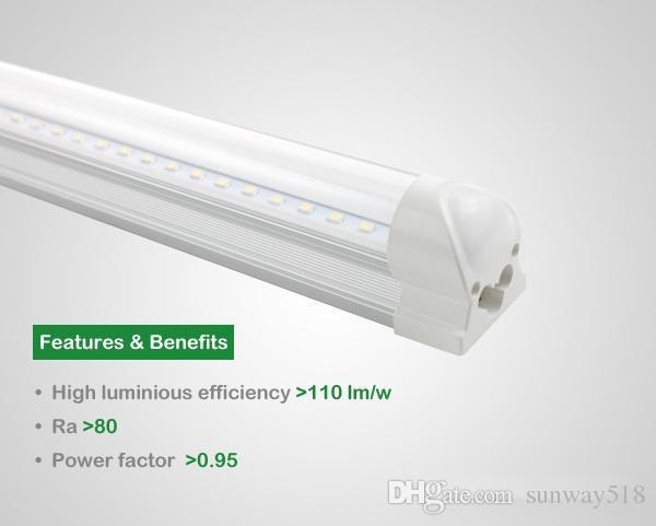 Tubo integrado 2.4 m 8 pies 45 W Led T8 Tubo Luces SMD2835 192LEDs Alto brillante 4800lm Cálido cubierta transparente transparente helada blanco 85-265V