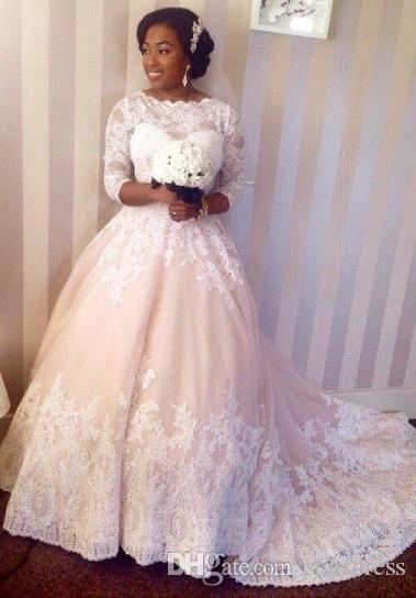 Vintage Lace Ball Gown Wedding Dresses Sheer Neck Sleeve Plus Size Wedding Dresses Luxury Africa Wedding Dress Cheap Vestido De Novia