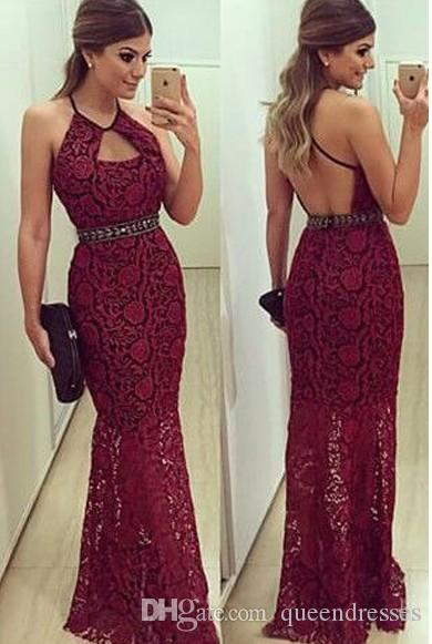 Modest Lace Mermaid Prom Dresses Long Jewel Sleeveless Mermaid Evening Gowns Backless Floor Length Women Special Occasion Party Dress Online