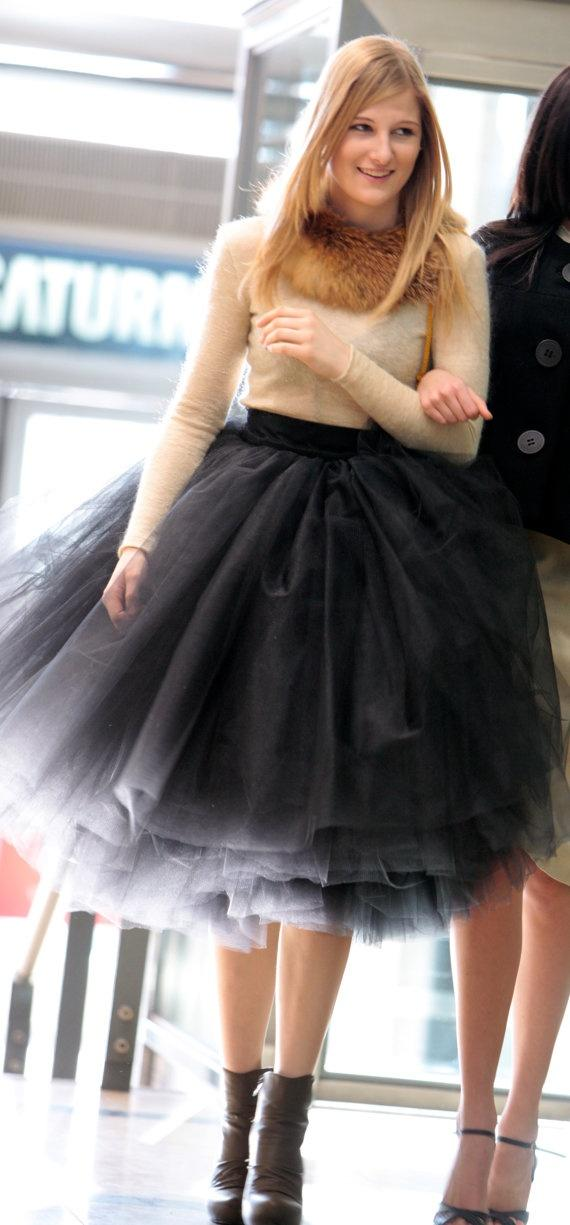 New Fashion Black Tulle Skirts Tutu Tea Length Free Size Custom Made Color And Size High Quality Mutilayers