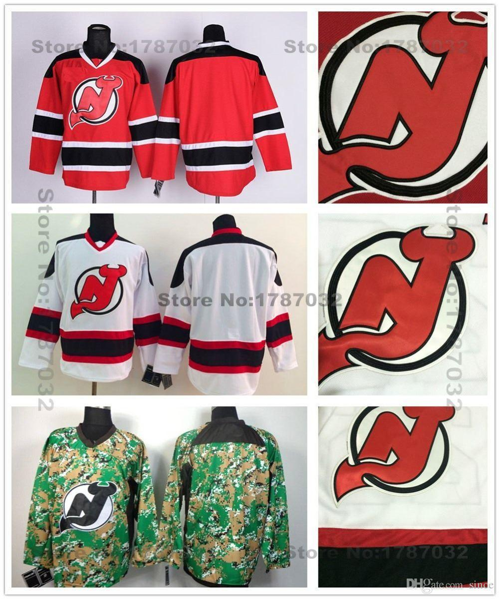 new style 08da8 f9108 2016 New, Cheap New Jersey Devils Hockey Jerseys Blank Home Red Road White  Camo Authentic Blank NJ Devils Jersey Stitched Embroider Lo
