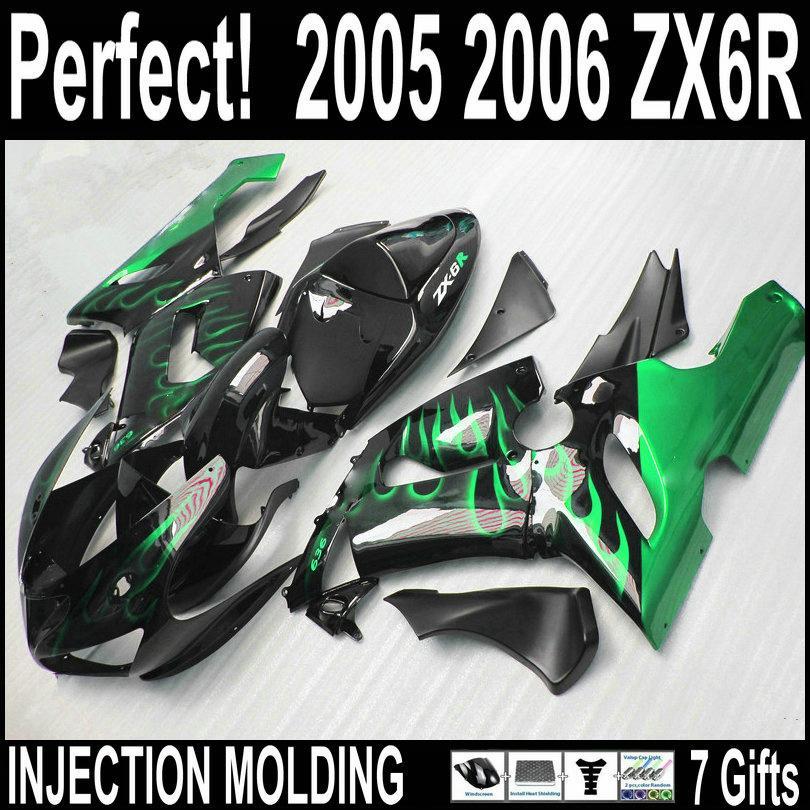Inyección de alta calidad para kit de carenado kawasaki zx6r 2005 2006 carenados de plástico verde llama en negro ZX6R 05 06 con 7 regalos BMq42