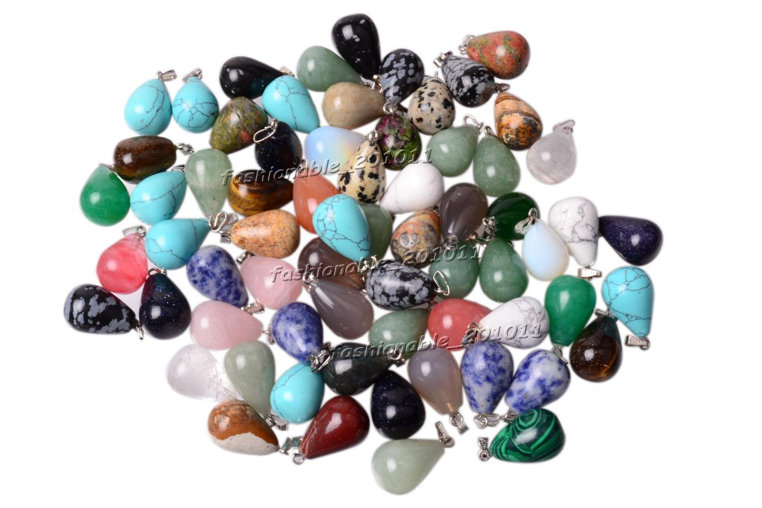 Wholesale Jewelry Drop Natural Assorted gemstone Stone mixed Pendants Loose Beads Fit Bracelets and Necklace Charms DIY #Bead0151