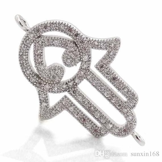 Hand of Hamsa charms connector, Fatima micro pave clear cz brass spiritual yoga palm trinkets,celebrity inspired jewelry,2*19*30mm