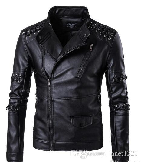 Winter Plus Size Men Retro Leather Jackets Coats Braided Rope Personalize Men Pu Jackets Oblique Zipper Motorcycle Jacket For Men T170601