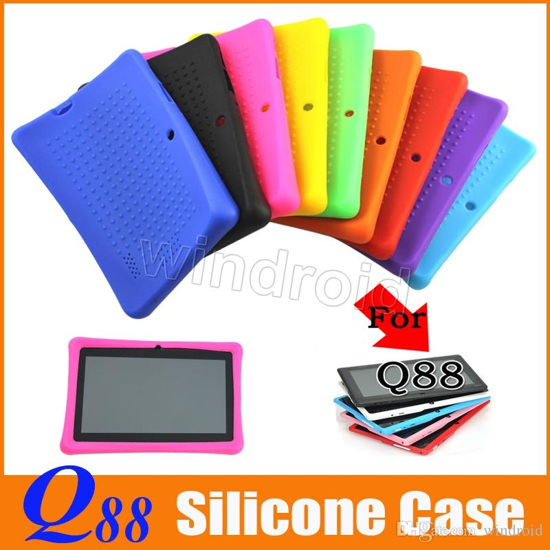 High quality Colorful Silicone Silicon Case Protective Cover For 7 Inch A13 A23 A33 Q88 Q8 Dual Camera Tablet PC MID free DHL