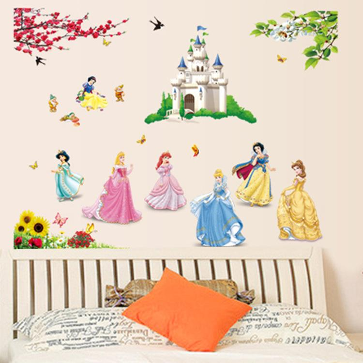 Princess Castle DF5102 Wallpaper Removable Wall Stickers Kids Girls Baby  Room Decor Home Wall Paper Decal Deco Art Sticker