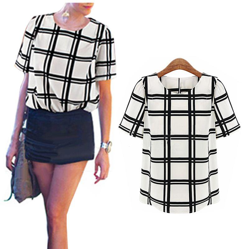 2014 Ol Style Black And White Grid Printed Shirts Women Short ...
