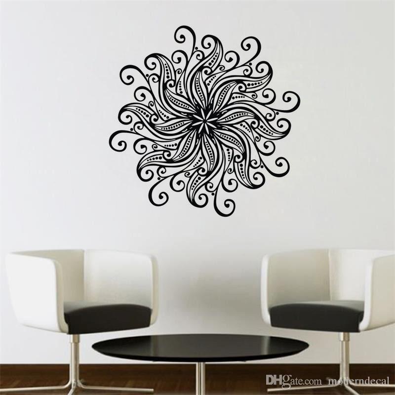 Acquista Flower Pattern Mandala Wall Stickers Home Decor Vinyl Art ...