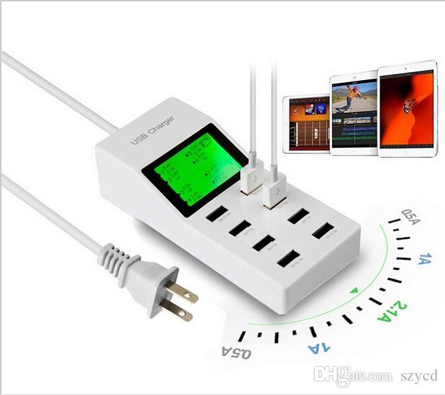 Evrensel 8 USB Portu Ekran ABD / AB / İNGILTERE Tak Seyahat AC Güç Adaptörü Soket Akıllı Duvar Şarj Için Cep Telefonu Tablet Kamera