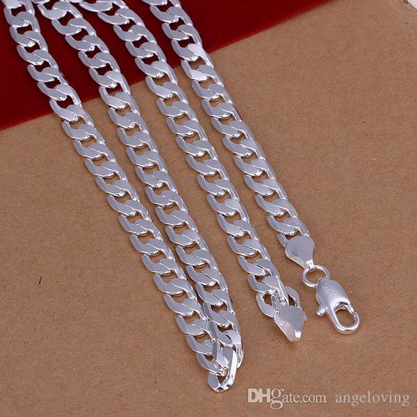 New 925 Silver Necklace 6MM Men's Curb Chain Necklace 20inch Fashion Men's Necklace Jewelry