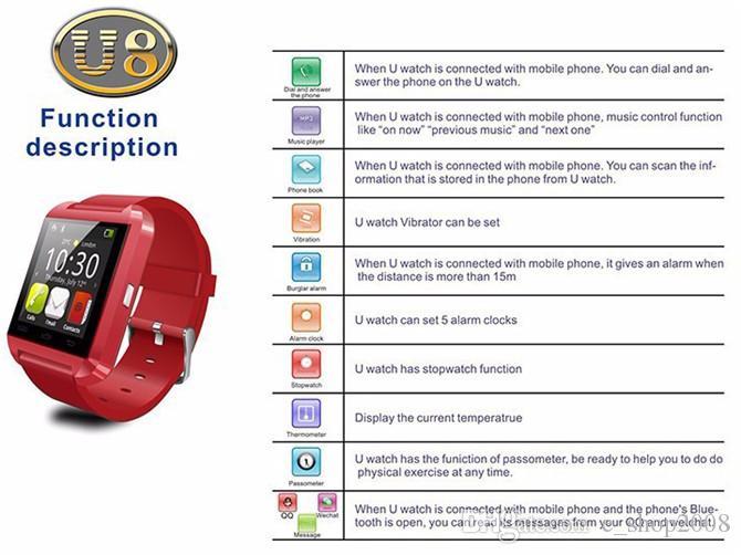 ساعة ذكية بلوتوث ، U8 ، ساعة ذكية ، ساعة ذكية لهواتف ايفون 4 ، 4 اس ، 5 ، 5 اس و 6 و 6 وسامسونج S4 S5 نوت 2 نوت 3 اتش تي سي اندرويد الهواتف الذكية 2015
