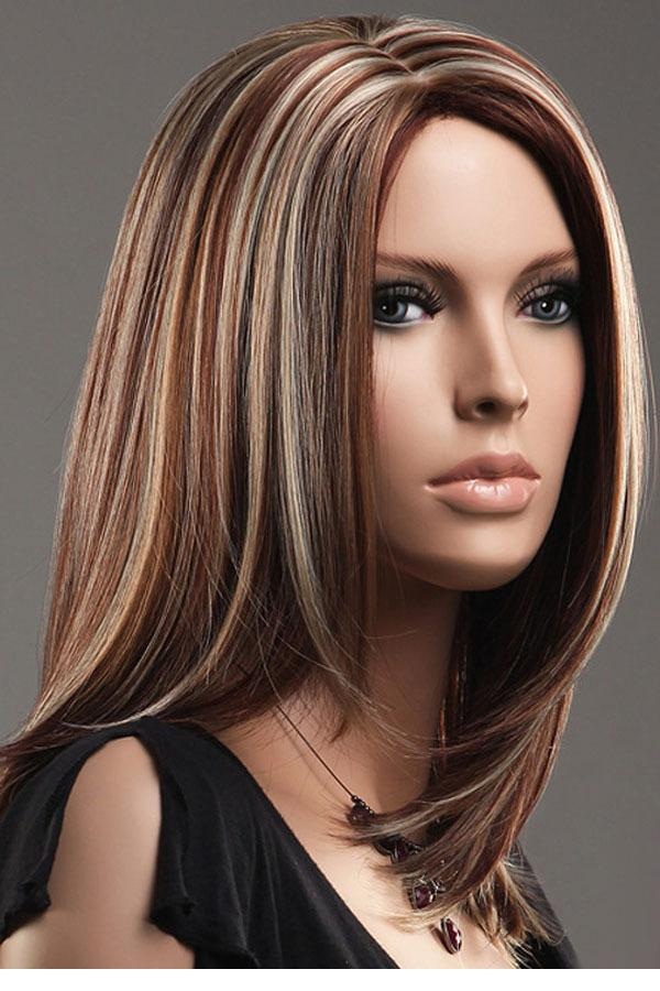 Dear Lover Women s Brown Blonde Straight Mid-length Highlights Hair ... 5816a9a159a7
