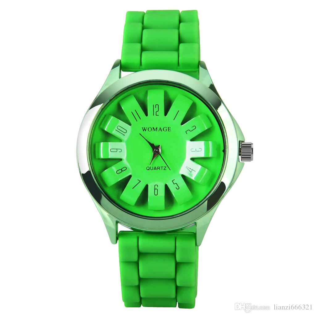 2017 New Summer Fashion Colorful Women Ladies Jelly womage Mum Silicone Strap12 Numbers Quartz Dress Wrist Watch 1550