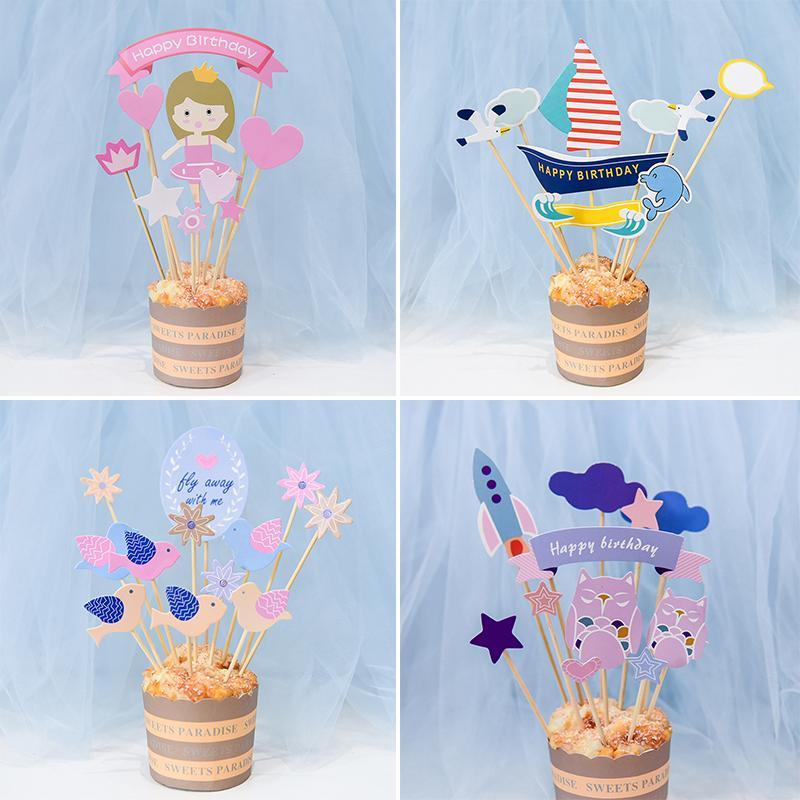 Grosshandel Multi Form Cartoon Cupcake Toppers Picks 1 Geburtstag