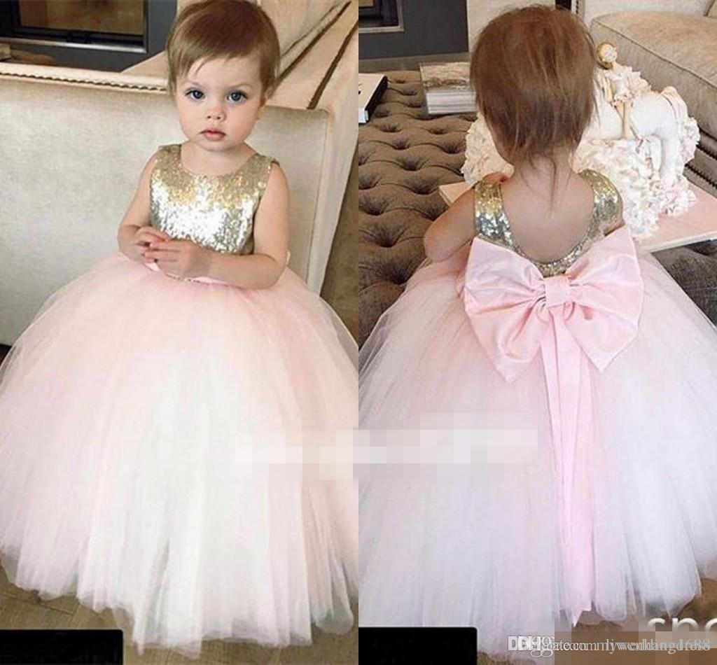 Cupcake Wedding Holy First Communion Dresses Big Bow Gold Sequins 2018 Cheap Baby Child Flower Girl Dresses Ball Gown Little Kids for Party
