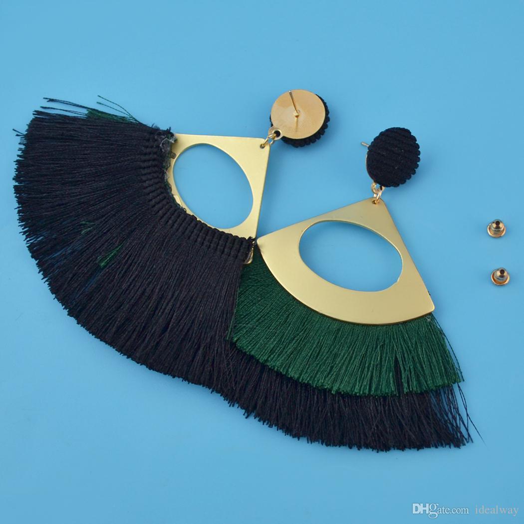es oro de la manera plateado forma de abanico hilo joyería cuelga los pendientes de gota