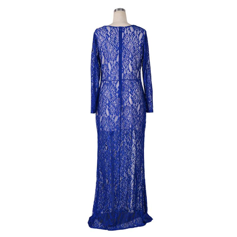 2016 Split Evening Dresses For Big Size Women Clothings 6XL 7XL 8XL Lace Long Sleeve Formal Long Prom Dresses Vestidos Long Maix Dresses