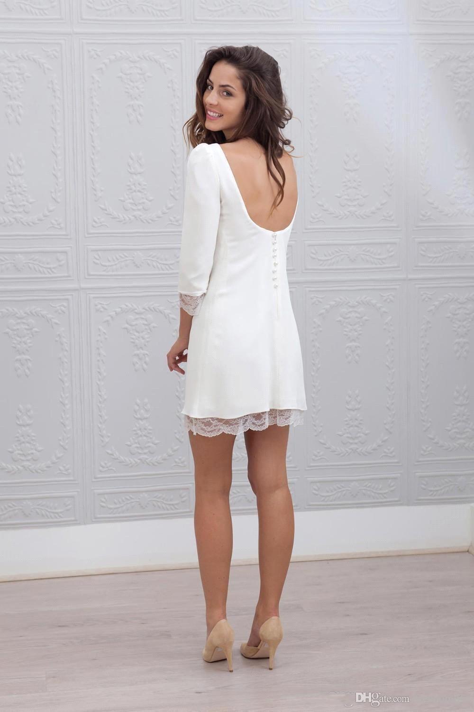 Elegante einfache kurze montierte Brautkleider mit 3/4 langen Ärmeln Sexy Niedriger Rückseite Strand Lässige Empfang Mini Hülle Brautkleider