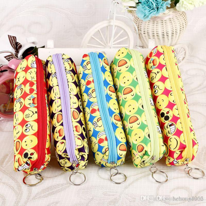 Smiling Face Pencil Bag For Cute Emoji Zipper Writing Case Student Stationery Gift Multi Colors 2 8kh C R