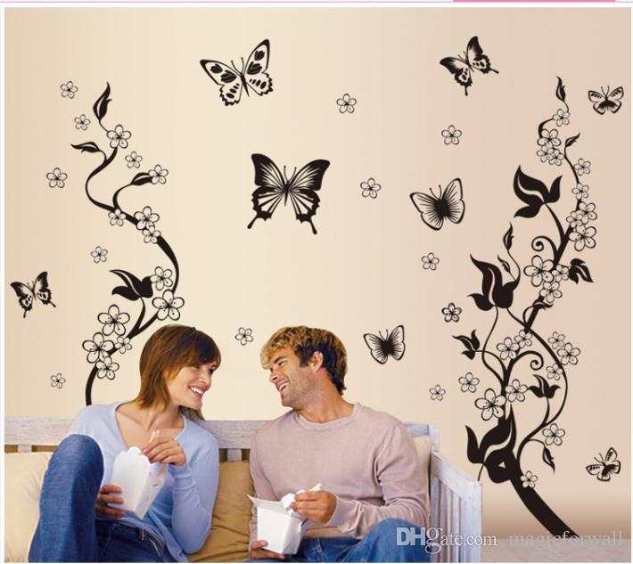 Black Butterflies and Flowers Wall Art Mural Decor Home Wallpaper Decoration Sticker Living Room Sofa Background Decor