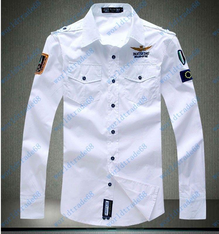 2017 Hot Sale Air Force Men Shirt Epaulet Casual Shirts Long ...
