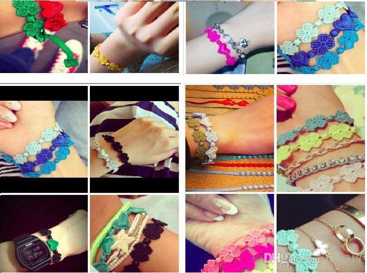 الجملة - الأزياء الدانتيل سوار مجوهرات إمرأة رجل البرسيم اليدوية الصداقة سحر أساور 0276