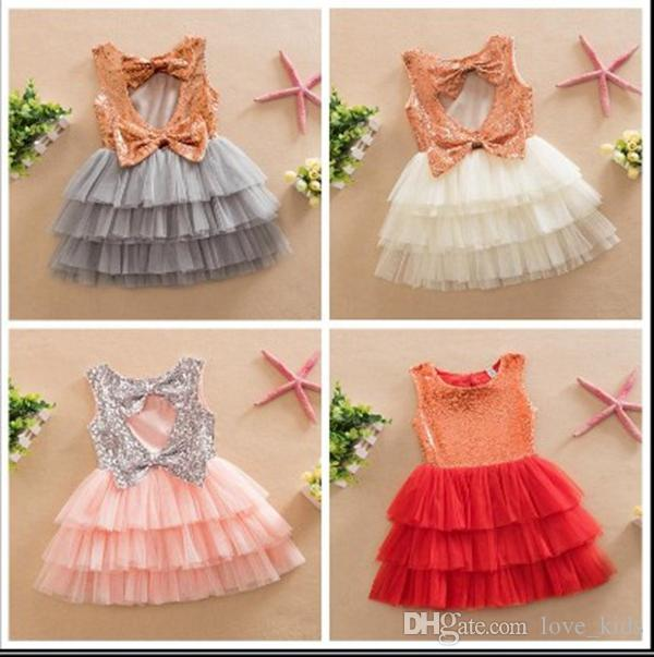 834d33300edf Fashion Kids Summer Clothes Toddler Baby Girl Lovely Bows Gold Sequined  Dress Children Girl Sequins Party Cake Dress 2-7Y Baby Girl Dress Princess  Girl ...