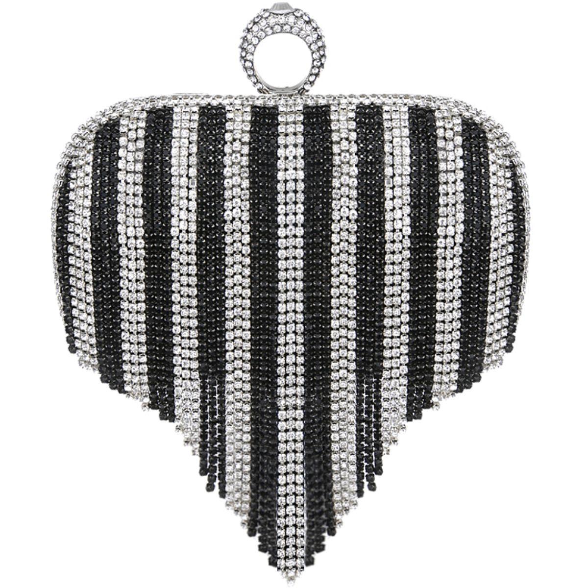 New Fashion Tassel Rhinestone Diamond Finger Ring Bling Women Evening Bag Bridal Wedding Handbag Clutch Bag Wallet Purse For Wedding Dinner