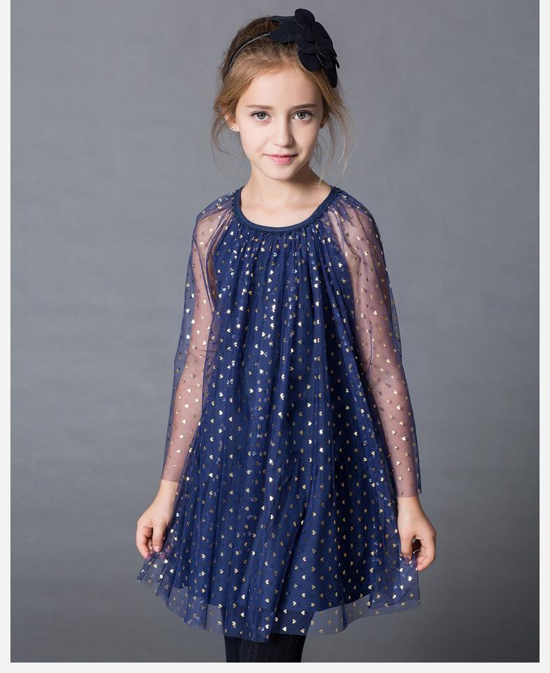 2017 2015 Autumn Luxury Big Girls Dresse Cotton Organza Heart Gold ...