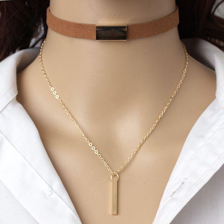 New Black Velvet Choker Halskette Gold Kette Bar Halsreifen Chocker Halskette für Frauen Collares