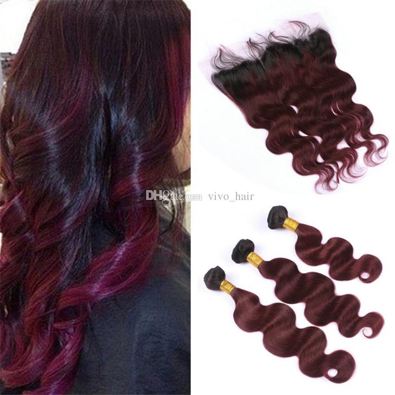 8А омбре малайзийский Бургундия пучки волос с кружевом фронтальной закрытия вино красный 1B/99J объемная волна человеческих волос ткет с кружевом фронтальной