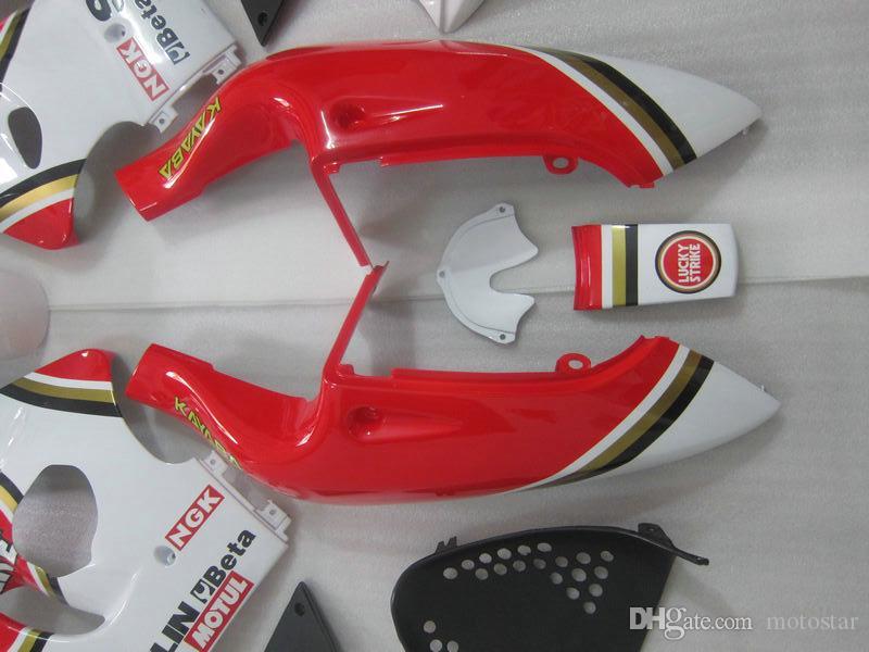 Kit carénage en plastique pour SUZUKI GSXR600 GSXR750 1996-2000 GSX-R600 / 750 96 97 98 99 00 rouge blanc LUCKY STRIKE ensemble de carénages de moto GB43