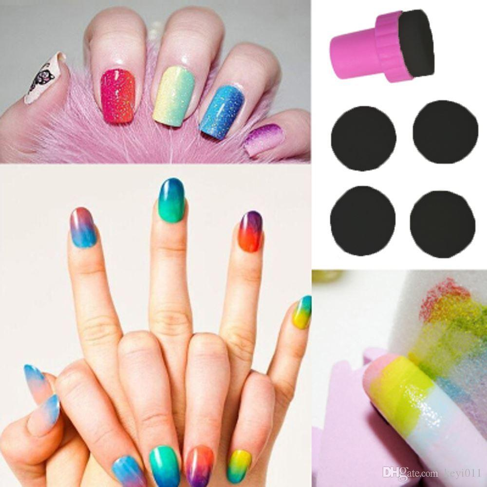 Manicure Sponge Nail Art Stamper Tools With Sponge Nail For Gradient
