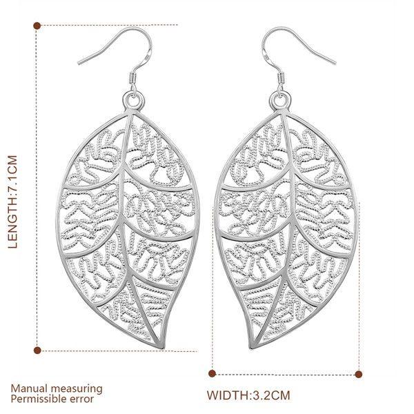 Новый стерлингового серебра покрытием висит лист серьги DFMSE128, женский 925 серебряный мотаться люстра серьги 10 пар много